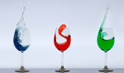 3 Glasses of Wine: Blue, Red, and Green drinks