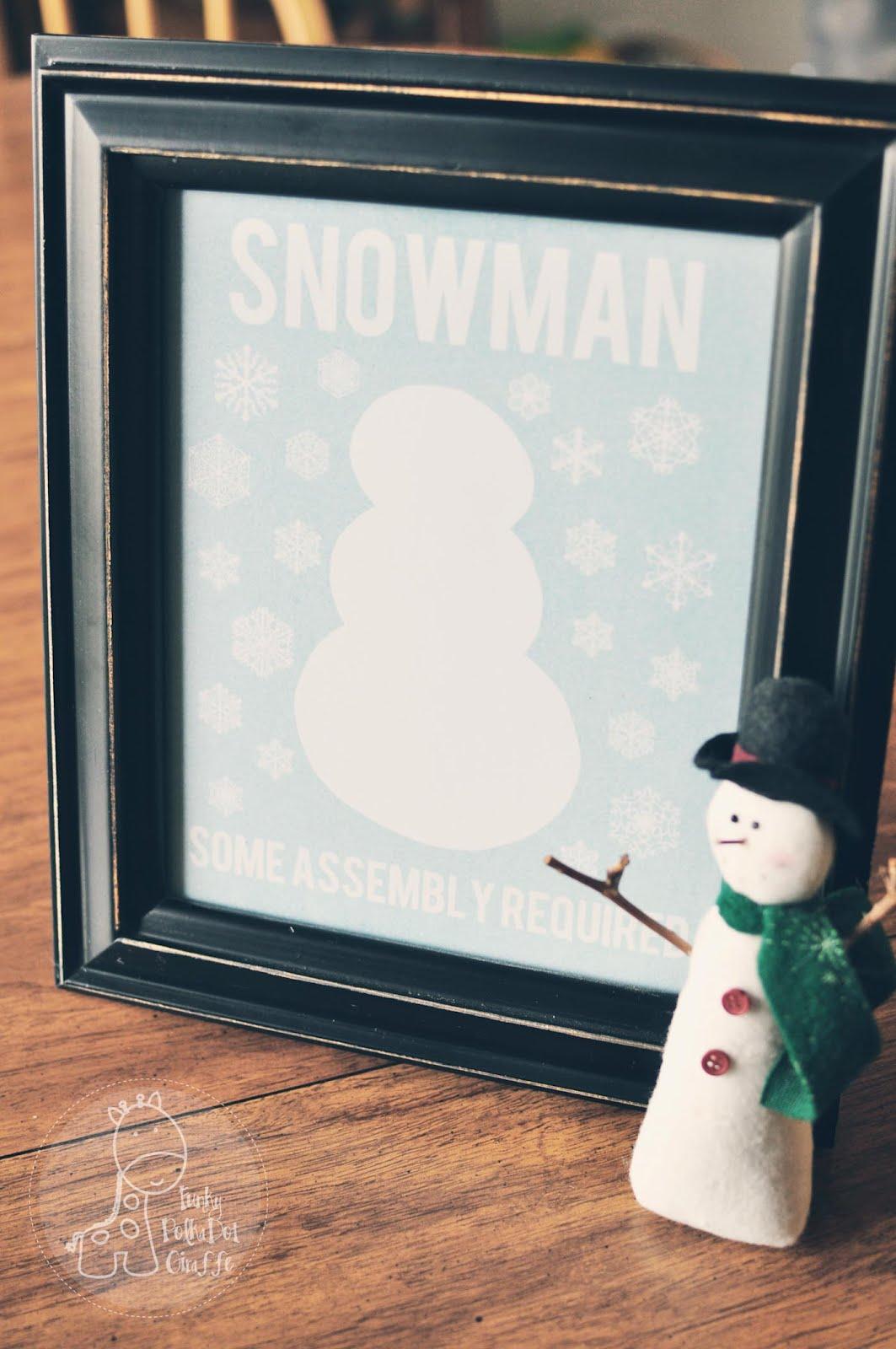 Funky Polkadot Giraffe January Fun Snowman Printable