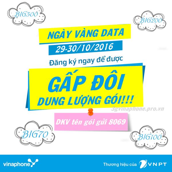 Vinaphone khuyến mãi NHÂN ĐÔI data 3G BIG ngày 29, 30/10/2016
