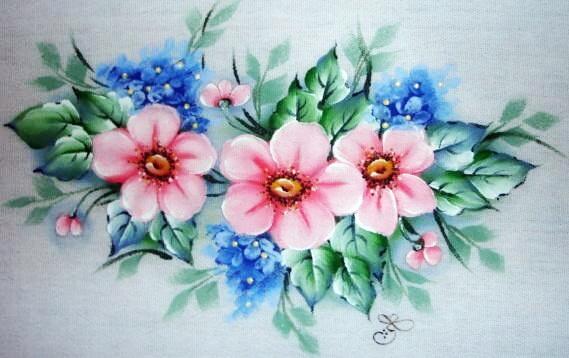 pintura em tecido flores do campo