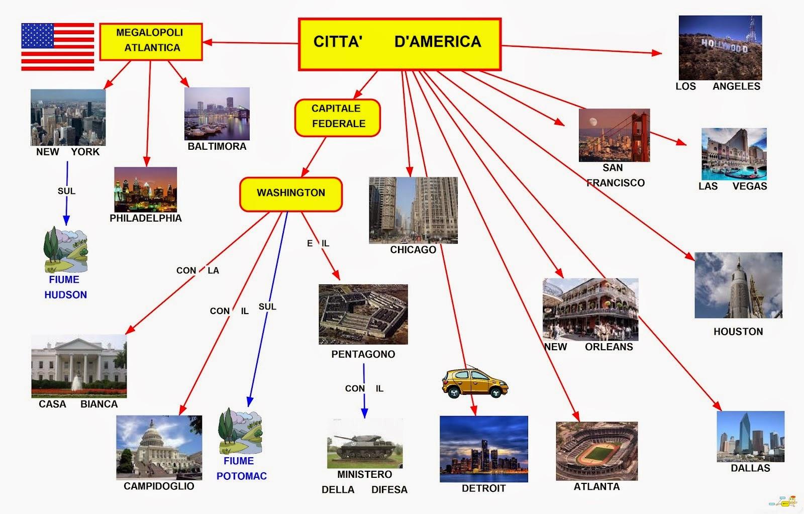 Usa Cartina Politica Con Capitali.Mappa Concettuale U S A Citta Scuolissima Com