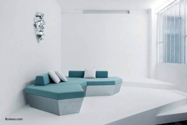 Espejo obra de arte en una sala de estar Minimalista