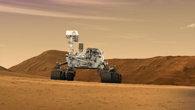 Đồ họa mô phỏng tàu tự hành Curiosity làm việc trên Sao Hỏa. Credit: NASA.