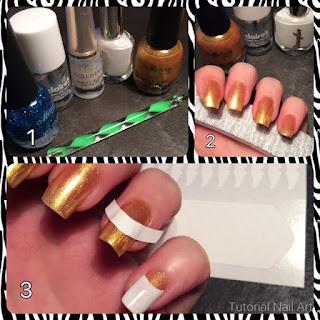 Tutorial unghie oro colorate di bianco ottendendo un rislutato effetto 3d allungante usando le tip guida