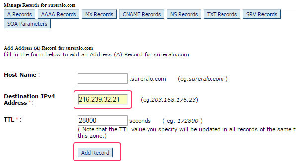 Adding A Record IP Address
