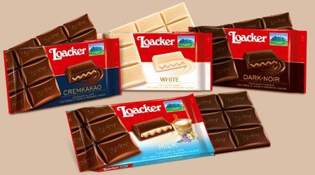 Il cioccolato Loacker: le tavolette con crema e wafer