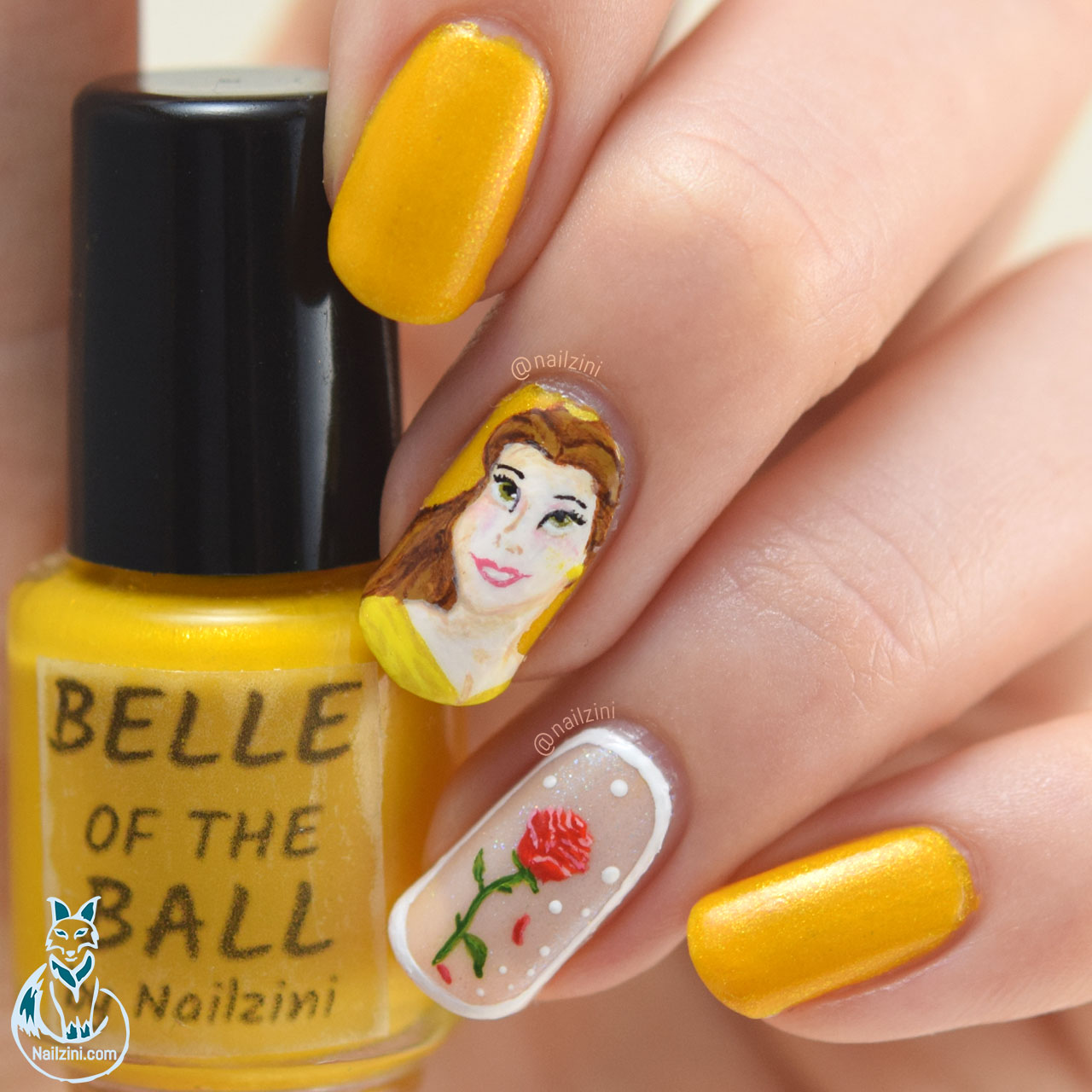 Beauty and the Beast Belle Roses Nail Art Nailzini