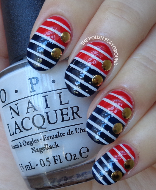 Blue and Red Nautical Stripes with Gold Circle Nail Studs Nail Art