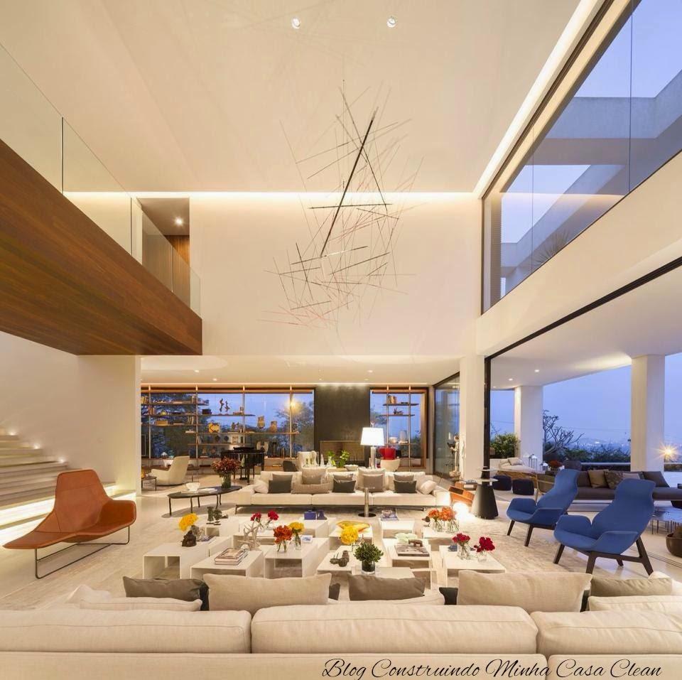Construindo Minha Casa Clean 65 Salas De Jantar E Estar Integradas  -> Gesso Para Sala De Estar Pequena