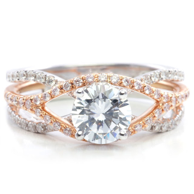 White Gold Engagement Ring With Rose Gold Wedding Band