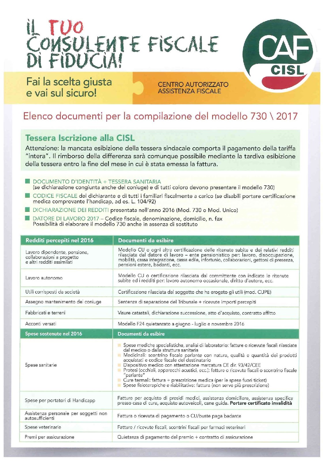 Fim cisl whirlpool melano marischio modello 730 2017 for Documenti per 730