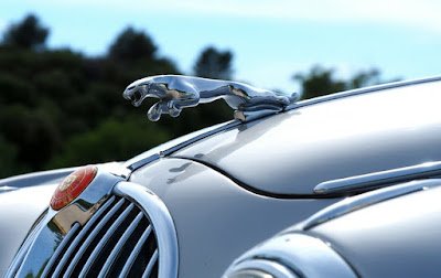 Classic jaguar car with iconic cat logo