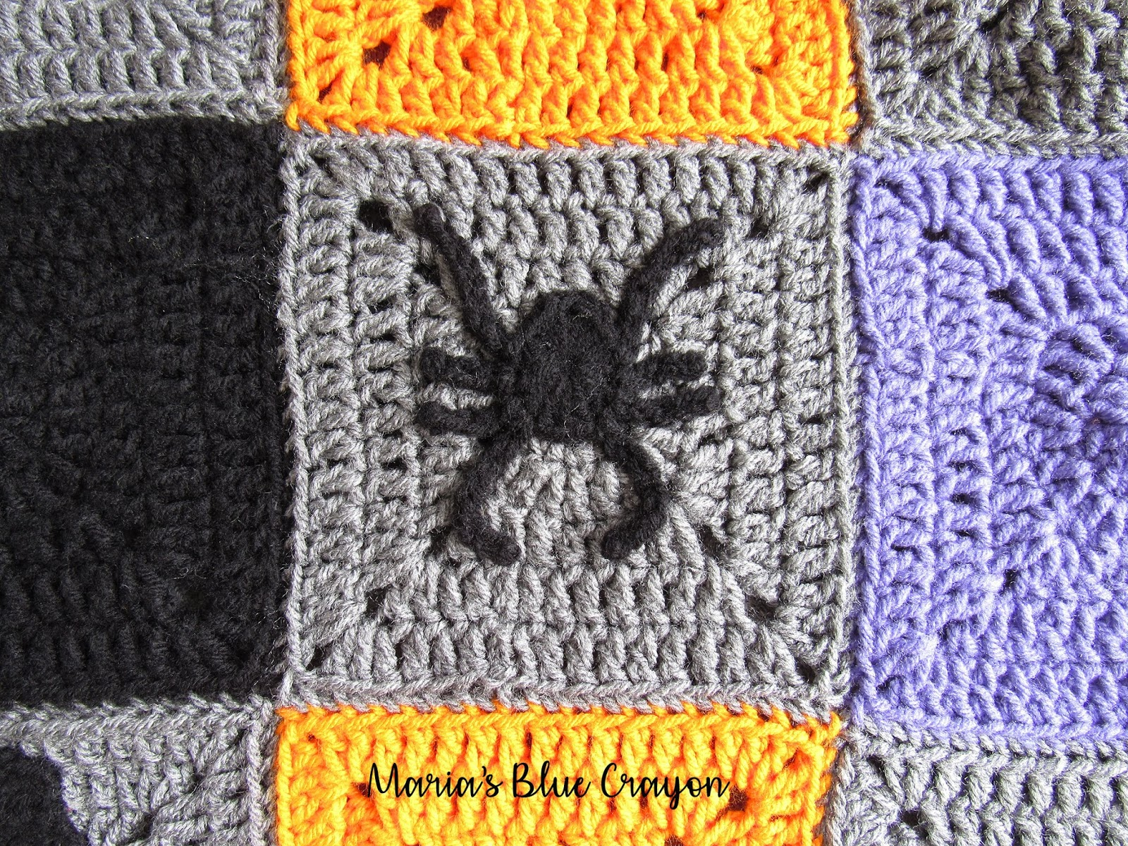 Halloween Spider Applique and Granny Square - Free Crochet Pattern ...