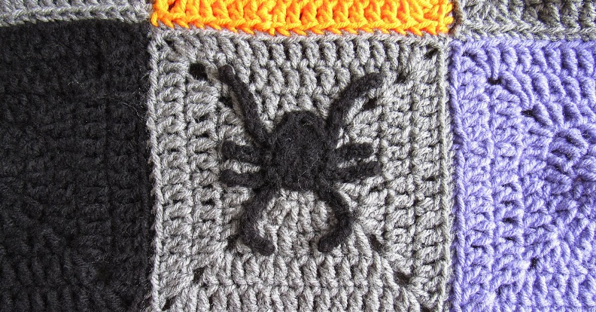 Halloween Spider Applique And Granny Square Free Crochet Pattern