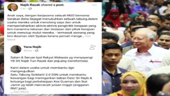 Siapa Nak Derma,Bolehlah Derma.Keluarga DS Najib Buat Kutipan Tabung Untuk DS Najib Dan Rosmah..