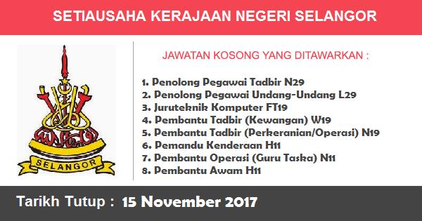 Jawatan Kosong di Pejabat Setiausaha Kerajaan Negeri Selangor