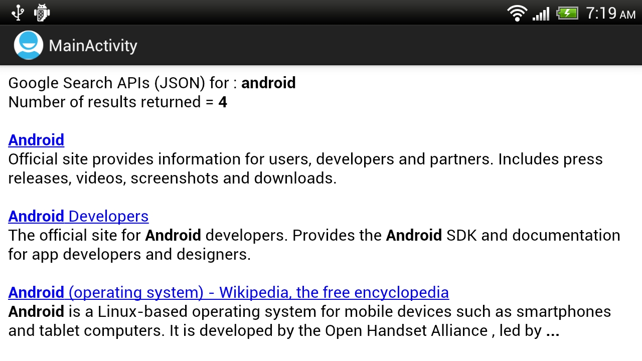 Android-er: Implement Google Search (JSON) for Android