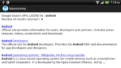 Implement Google Search (JSON) for Android, display in WebView.