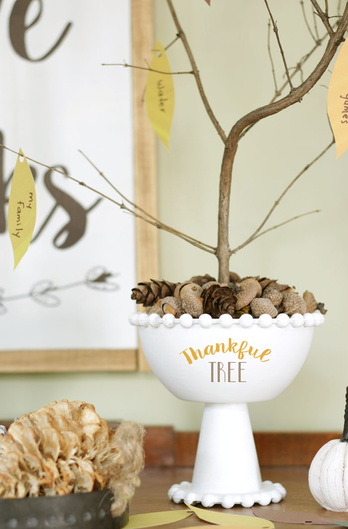 Fall vignette with wooden dresser, bleached pine cones, sign and thankful tree.