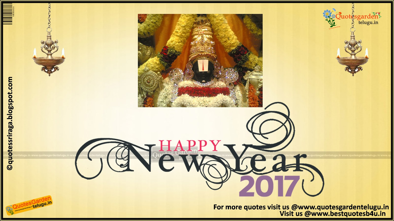 Happy new e greeting cards with hindu god wallpapers quotes garden new year greetings with lord balaji images m4hsunfo