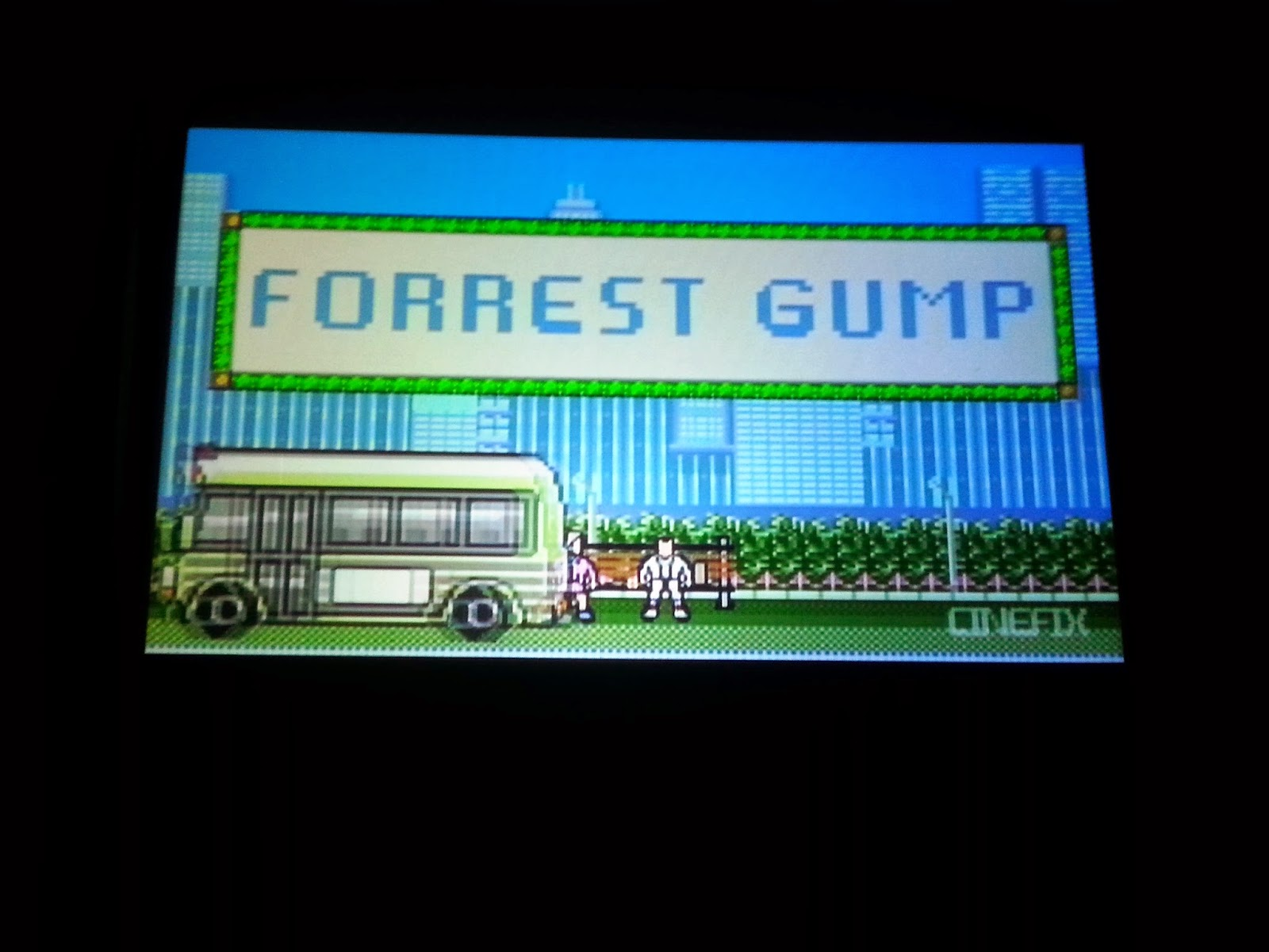 Screenshot of the title of an 8-Bit interpretation of the movie Forrest Gump.