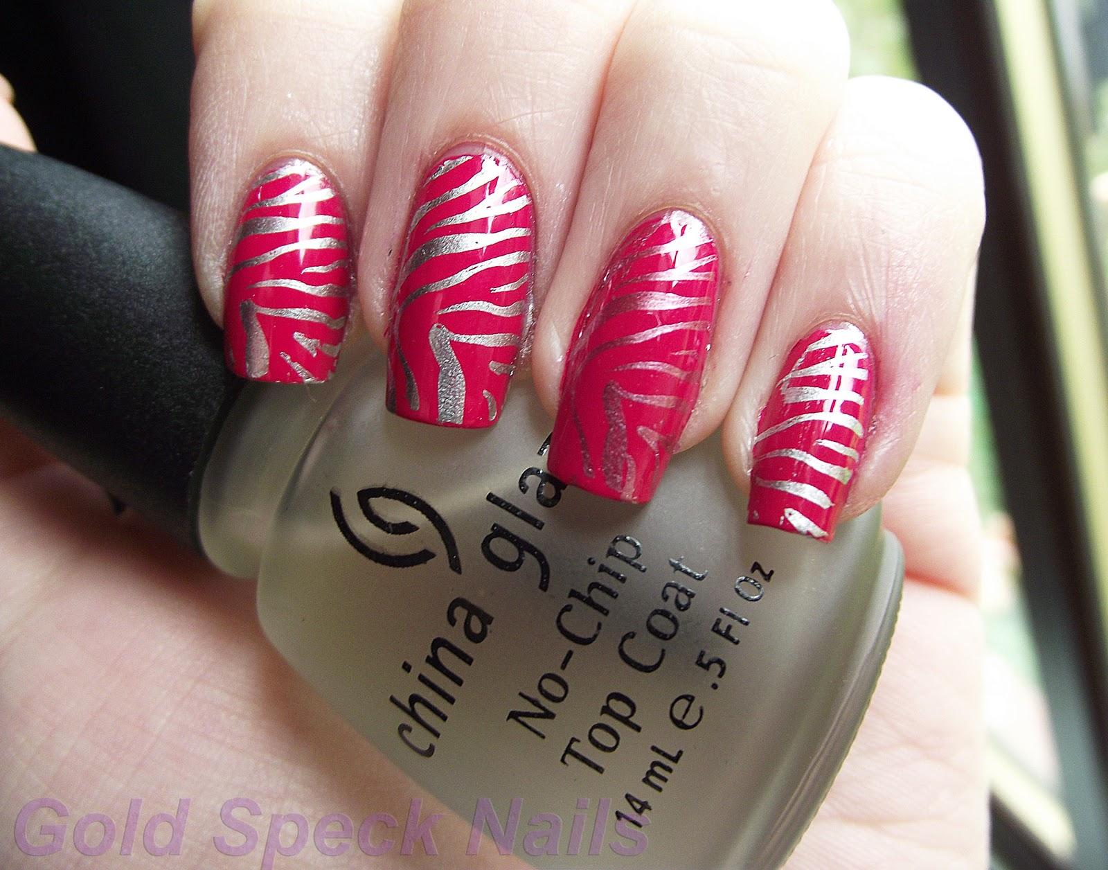 Gold Speck Nails P2 Pink It Up Chrome Zebra Konad