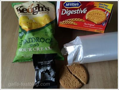 Keogh's Irischer Klee & Sour Cream Chips, Mc Vitie's Digestive Kekse, Schwarze Pechkeks