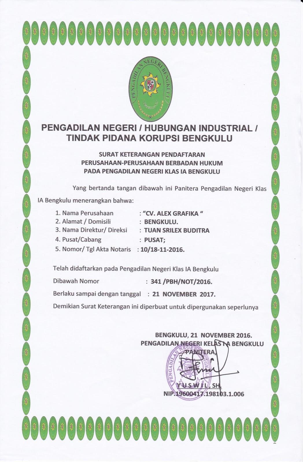 Pengesahan CV. ALEX GRAFIKA di Pengadilan Tinggi Bengkulu