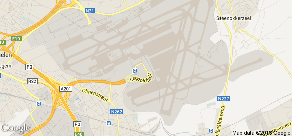 Χάρτης του αεροδρομίου Βρυξελλών στη γιάφκα Αμπααούντ στο Παγκράτι