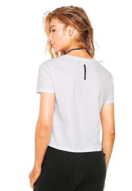 Moda Blusa Calvin Klein Jeans Logo Branca