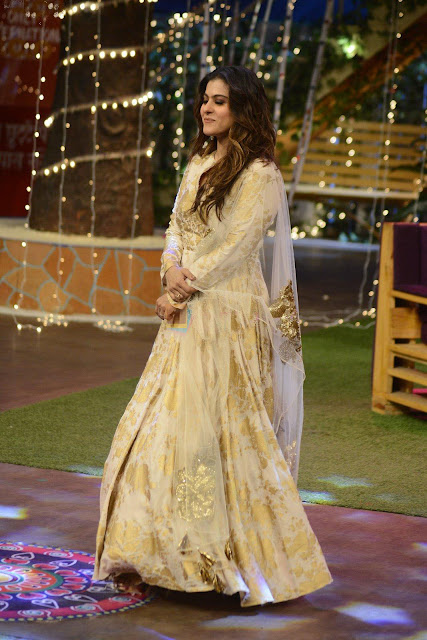 Kajol in White and Gold Foral Anarkali by Bhumika Sharma