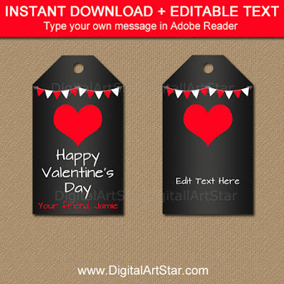 Chalkboard Valentine's Day favor tags in red and white