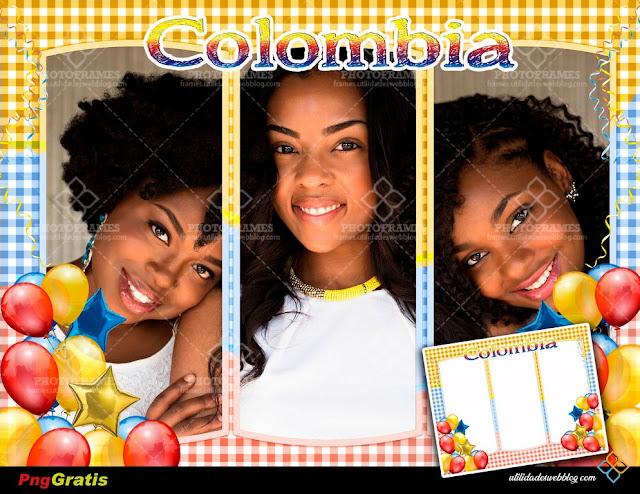 3 Pictures Frame With Balloons and Colombian Flag