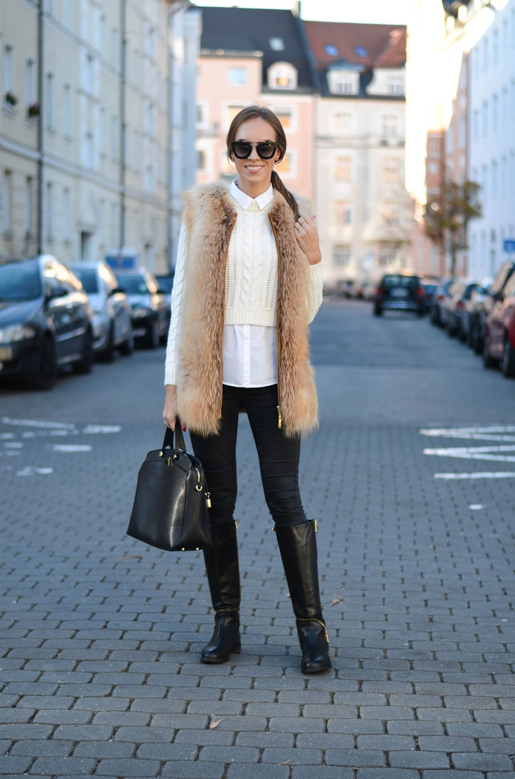 kristjaana mere fur vest cropped sweater knee high boots winter outfit
