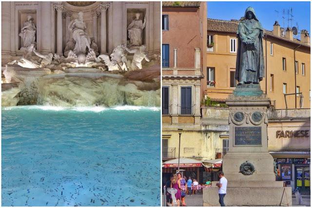 Monedas en la Fontana di Trevi y estatua de Giordano Bruno en el Campo dei Fiori en Roma