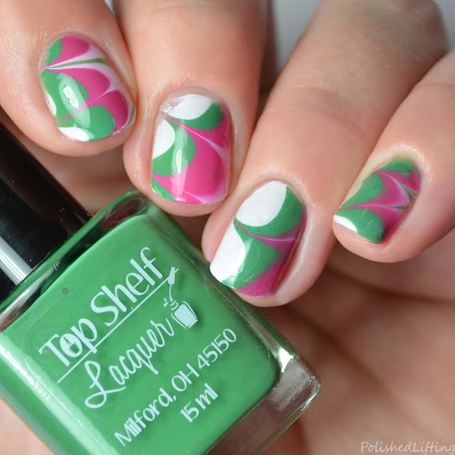 watermelon inspired water marble nail art