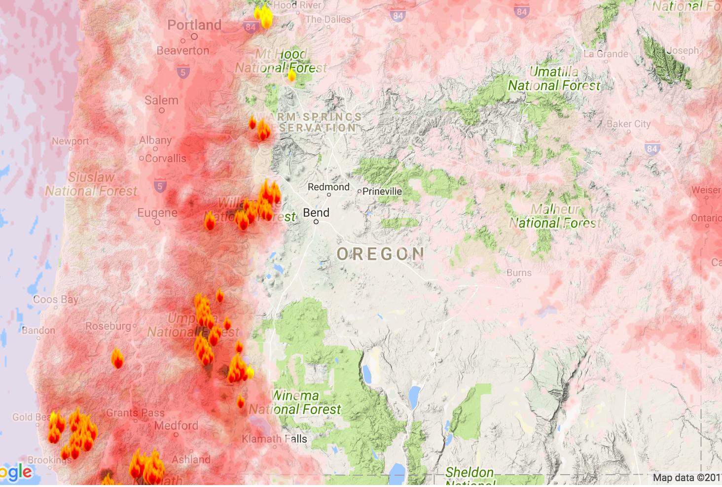 Oregon Smoke Information Oregon State Smoke Forecast for Monday