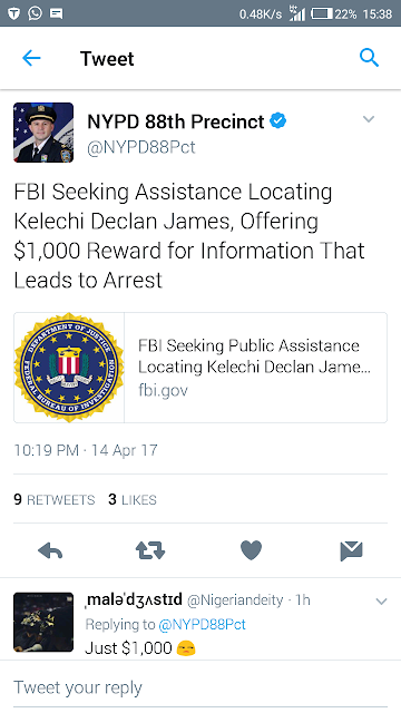 FBI Seeking Public Assistance Locating Kelechi Declan James, Offering $1,000 Reward for Information That Leads to Arrest