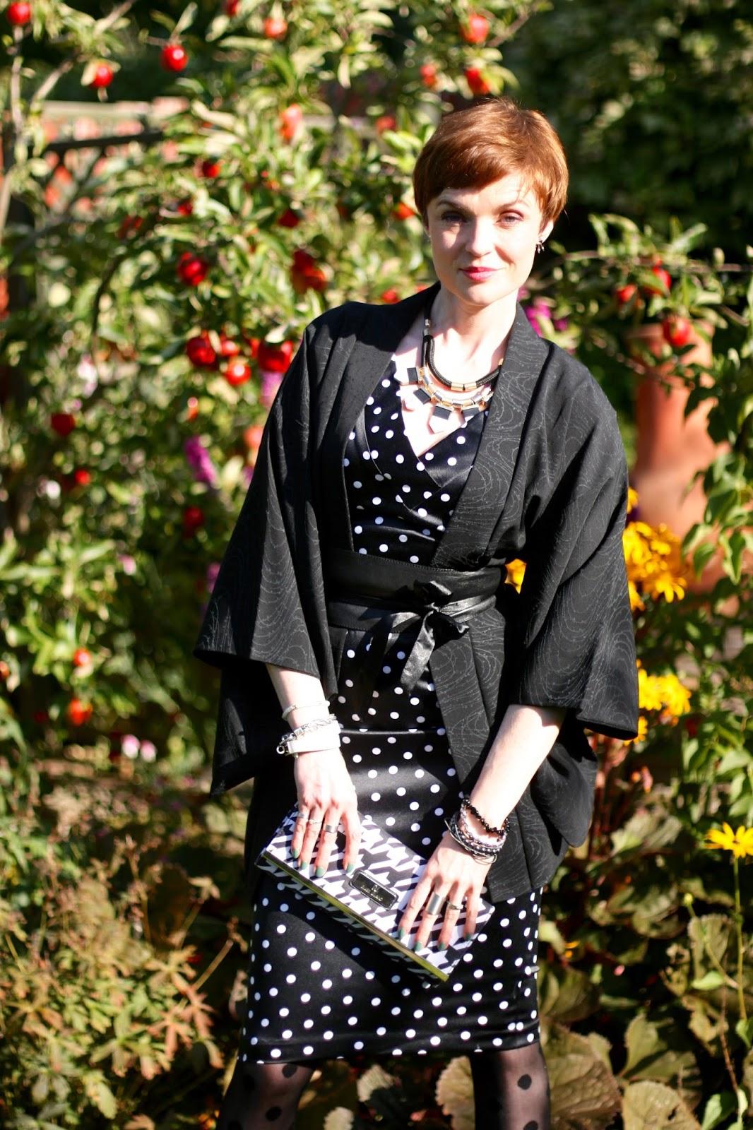 Vintage black kimono, black and white satin dress.