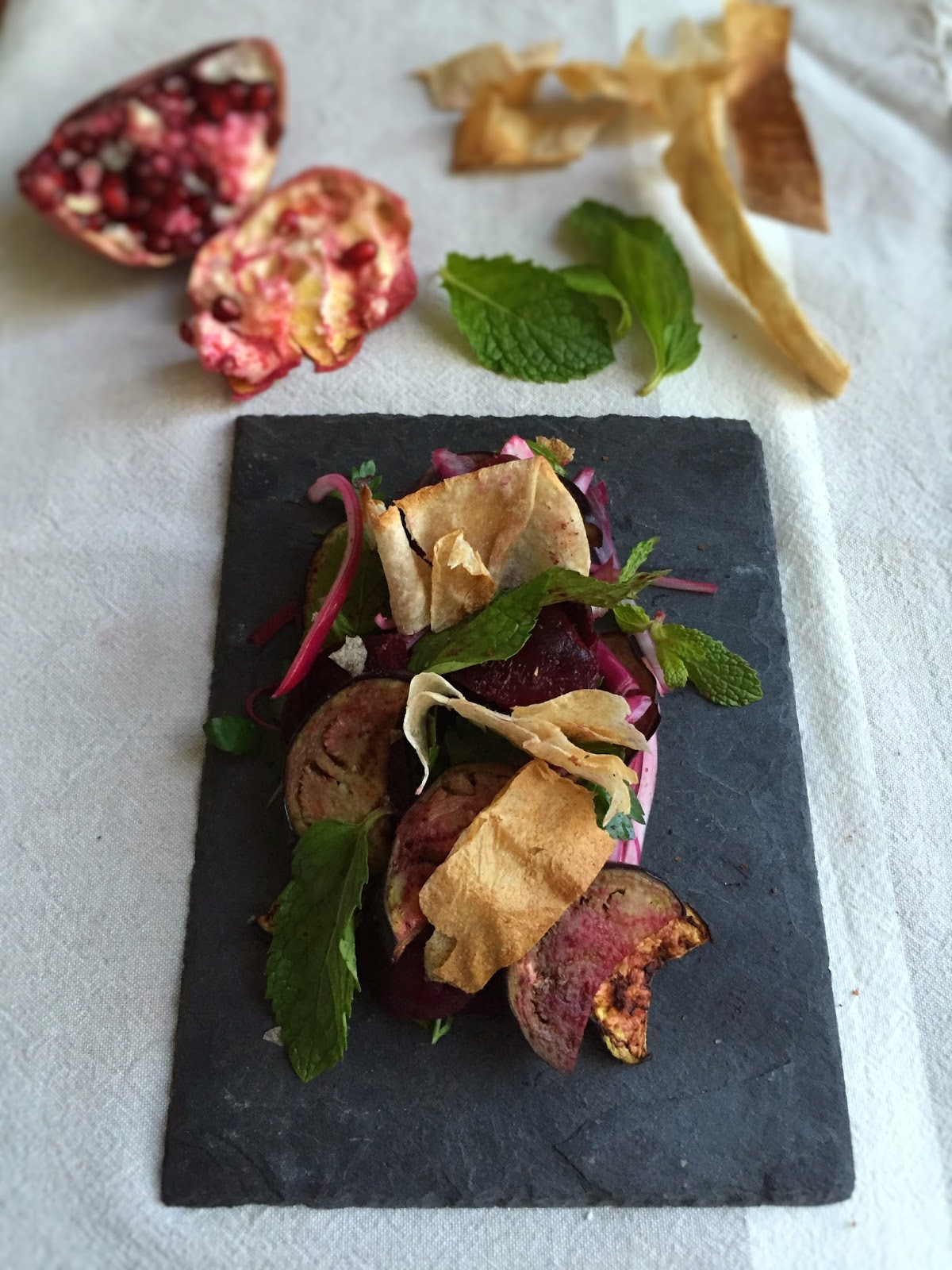 "Beetroot and aubergine ""fattoush"" salad"