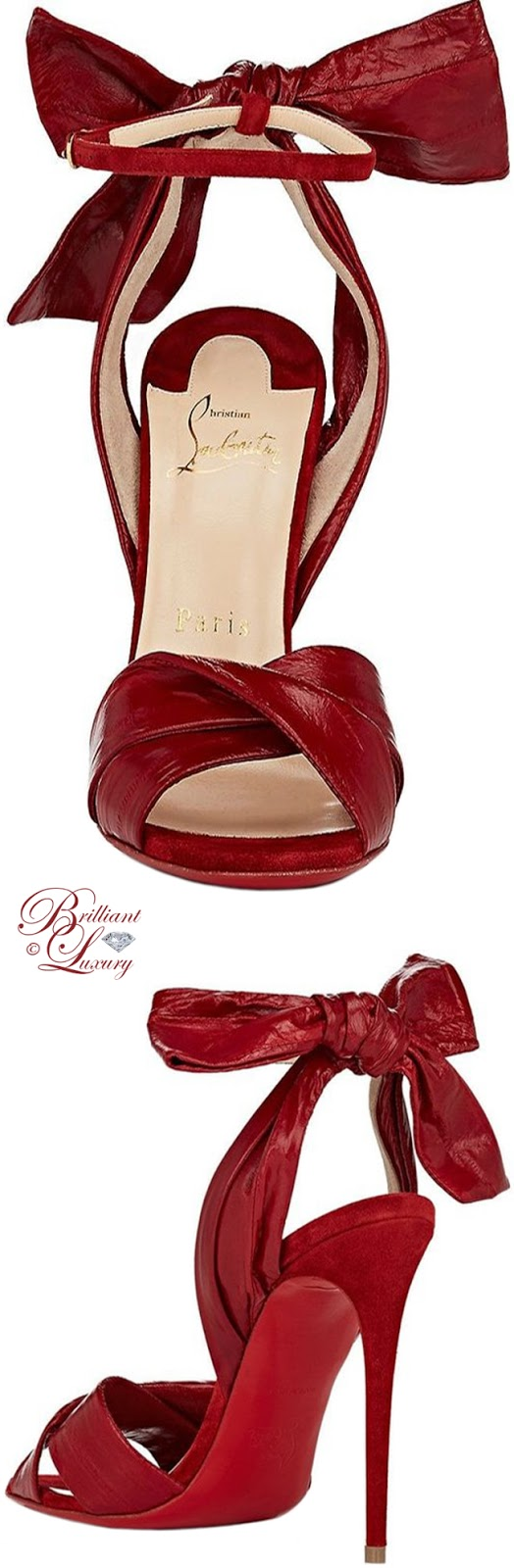 Brilliant Luxury ♦ Christian Louboutin Marylineska eelskin & suede ankle-strap sandals