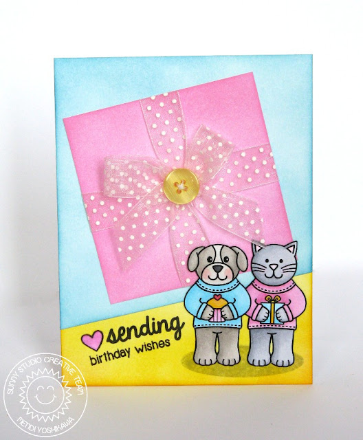 Sunny Studio Stamps Sending My Love Birthday Wishes Cat & Dog Card