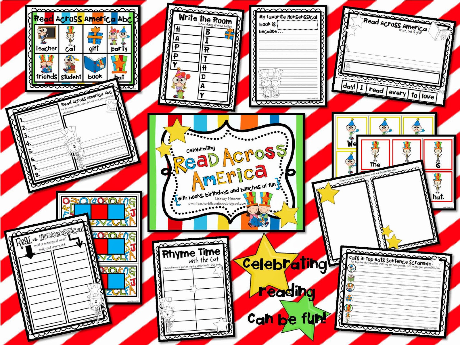 This is a graphic of Nerdy Read Across America Printable