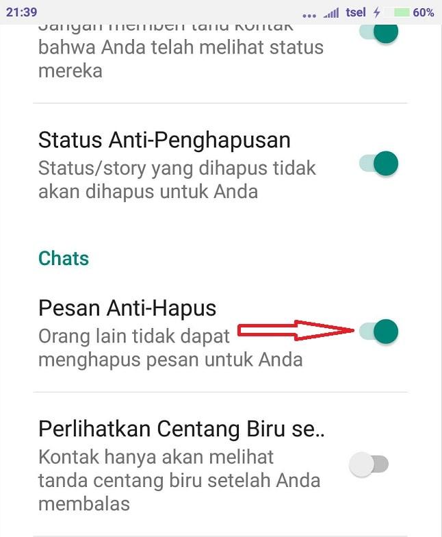 WhatsApp mod bisa melihat pesan yang sudah dihapus