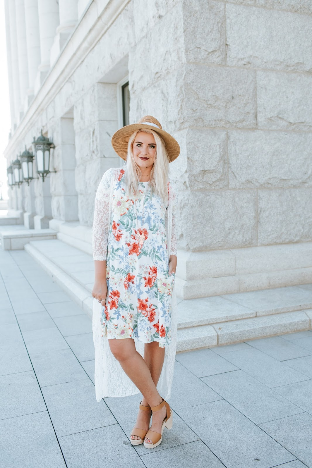 Floral, Modest Dress, Knee length Dress