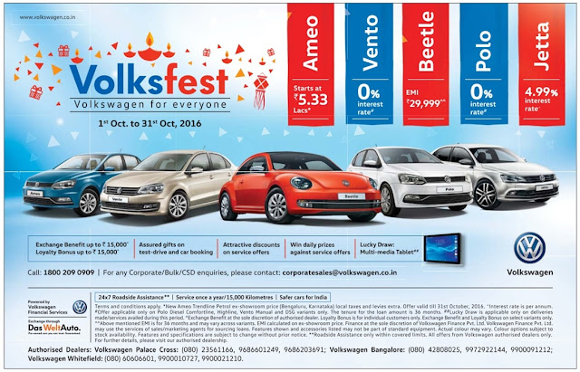 Volkswagen VolksFest- Assured gifts, Attractive discounts, Benefits, Lucky draw, Daily prizes for everyone | October 2016 Diwali festival discount offers