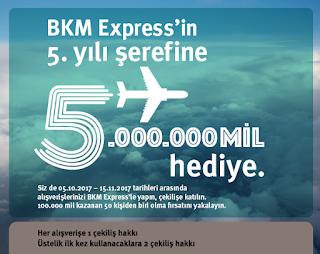 BKM Express'in 5. yılı şerefine 5.000.000 mil hediye