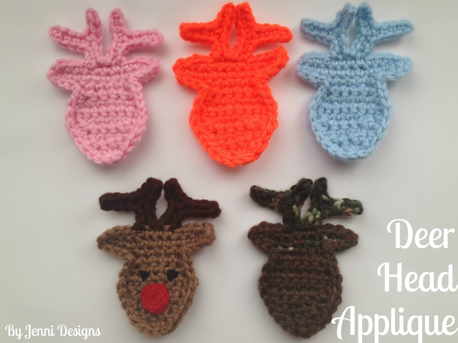 By Jenni Designs Free Crochet Pattern Tutorial Deer Head Applique