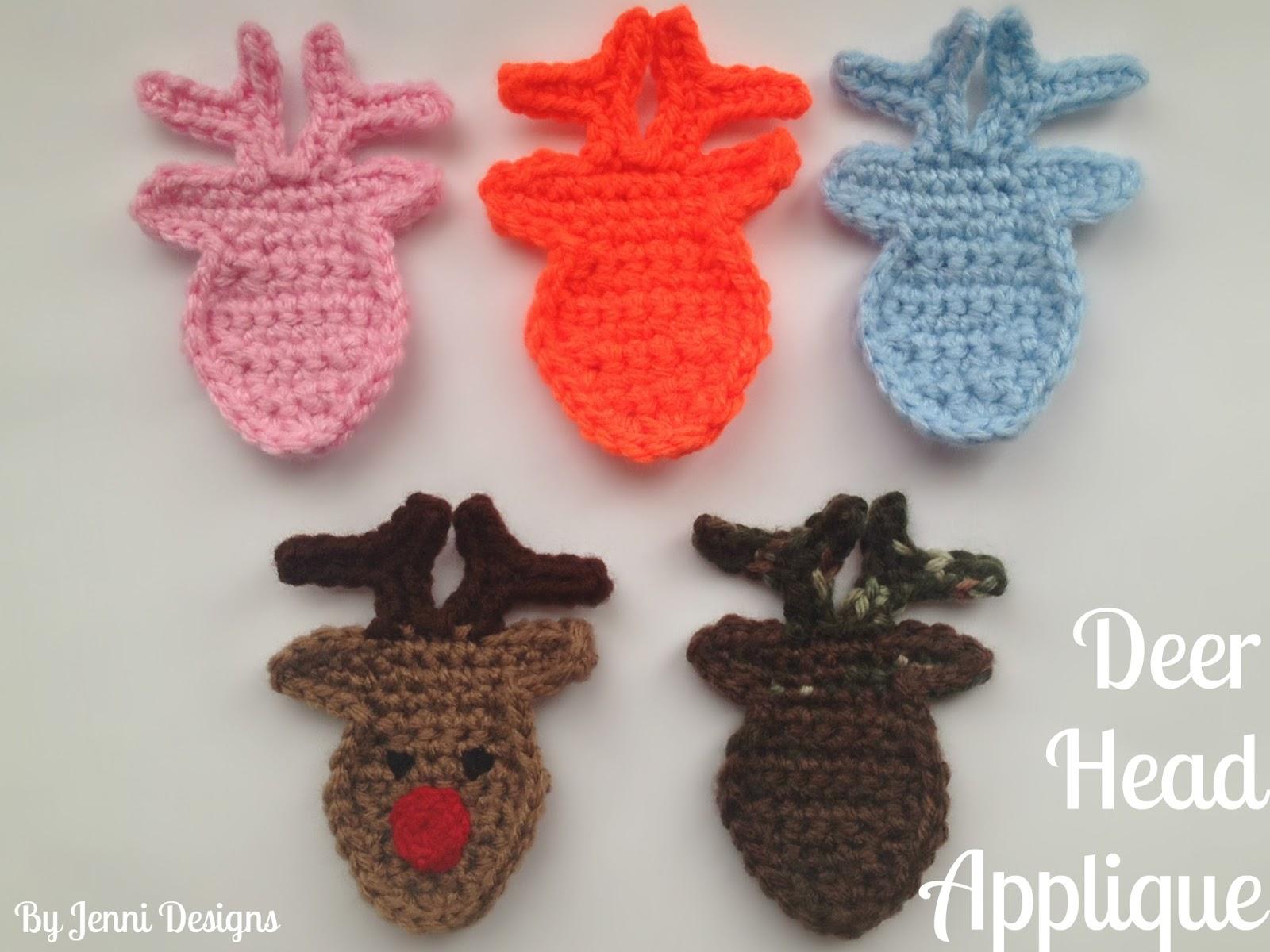 By Jenni Designs: Free Crochet Pattern Tutorial: Deer Head Applique