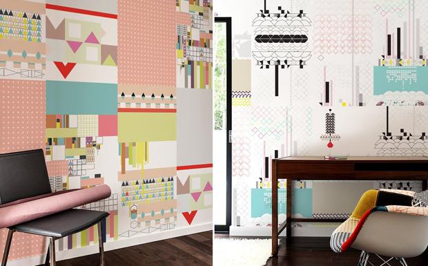 Geo Patterns par Kirath Ghundoo - Stickers muraux géants et tuiles Murales adhésives, le papier peint nouvelle génération